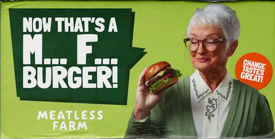 Meatless Farm Seeks To Shock With New M F Burger Ads Vegan News Daily