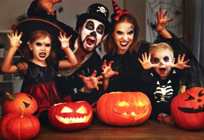 Halloween family in costume